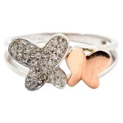 14 Karat White Gold and Rose Gold 0.21 Carat Diamond Butterfly Fashion Ring