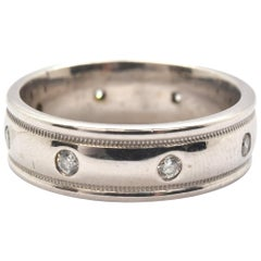 14 Karat White Gold And Round Diamond Eternity Band Ring 0.24 Carat