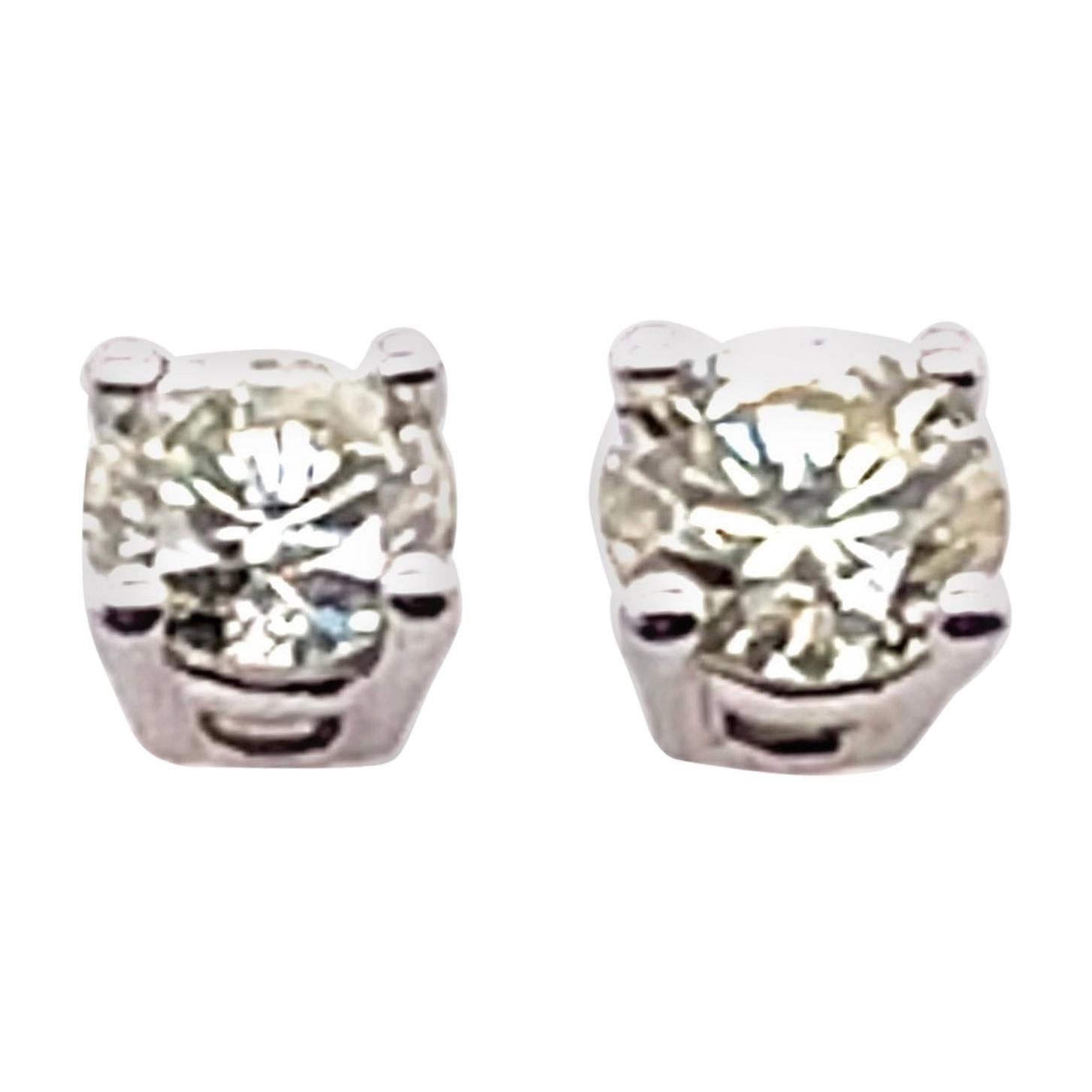 14 Karat White Gold and Round Diamond Stud Earrings Screw Back