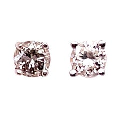 14 Karat White Gold and Round Diamond Stud Earrings Screw Back