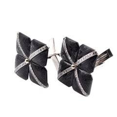 14 Karat White Gold and Sterling Silver Diamond and Onyx Cufflinks
