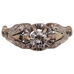 14 Karat White Gold Antique Diamond Engagement Bridal Ring