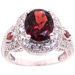 14 Karat White Gold Antique Ring Oval Garnet Center with Accents