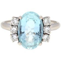 14 Karat White Gold, Aquamarine and Diamond Cocktail Ring
