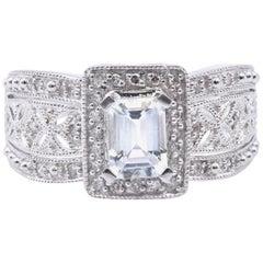 14 Karat White Gold Aquamarine and Diamond Fashion Ring