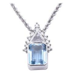 14 Karat White Gold Aquamarine and Diamond Necklace