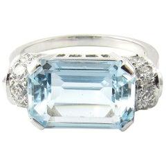 14 Karat White Gold Aquamarine and Diamond Ring