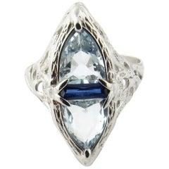 14 Karat White Gold Aquamarine and Sapphire Ring