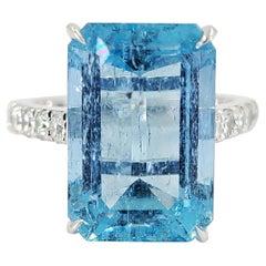 14 Karat White Gold, Aquamarine, & Diamond Cocktail Ring