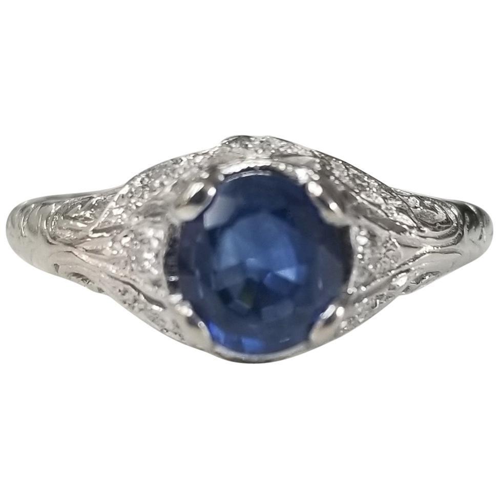 "14 Karat White Gold ""Art Deco Style"" Blue Sapphire and Diamond Ring"
