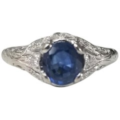 "14 Karat White Gold ""Art Deco"" Blue Sapphire and Diamond Ring"