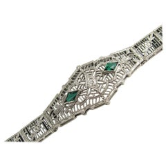 14 Karat White Gold Art Deco Diamond Bracelet