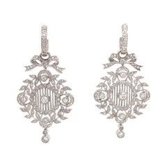 14 Karat White Gold Art Deco Inspired Drop Bow Earrings 0.80 Carats