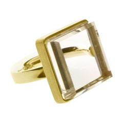 14 Karat Yellow Gold Art Deco Style Ring Rock Crystal by Artist