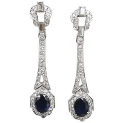 "14 Karat White Gold ""Art Deco"" Style Sapphire and Diamond Dangle Earrings"
