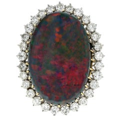 14 Karat White Gold Australian Black Opal Doublet and Diamond Ring