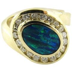 14 Karat Yellow Gold Australian Opal and Diamond Ring