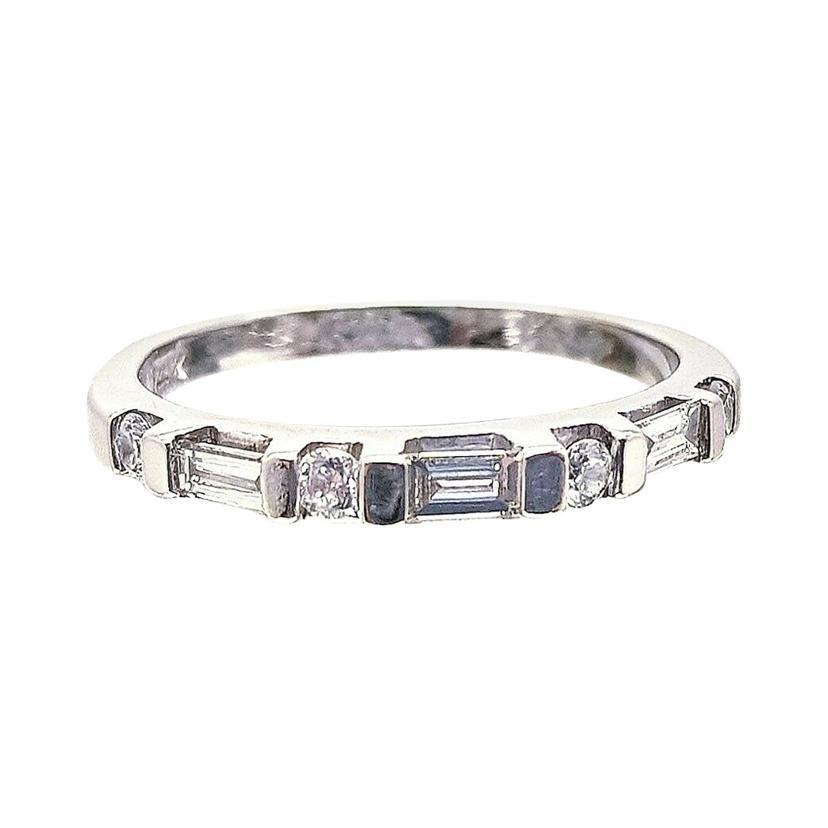 14 Karat White Gold Baguette and Round Diamond Wedding Ring