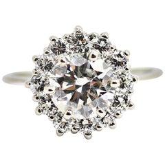 14 Karat White Gold Ballerina Ring with a 1.74 Carat Round Diamond G SI3