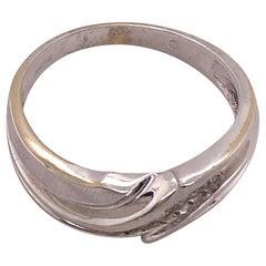 14 Karat White Gold Band Ring Wedding Band .20 Total Diamond Weight