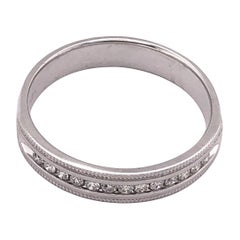 14 Karat White Gold Band Ring Wedding Band with .25 Total Diamond Weight