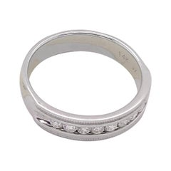 14 Karat White Gold Band Ring Wedding Ring with 9 Round Diamonds