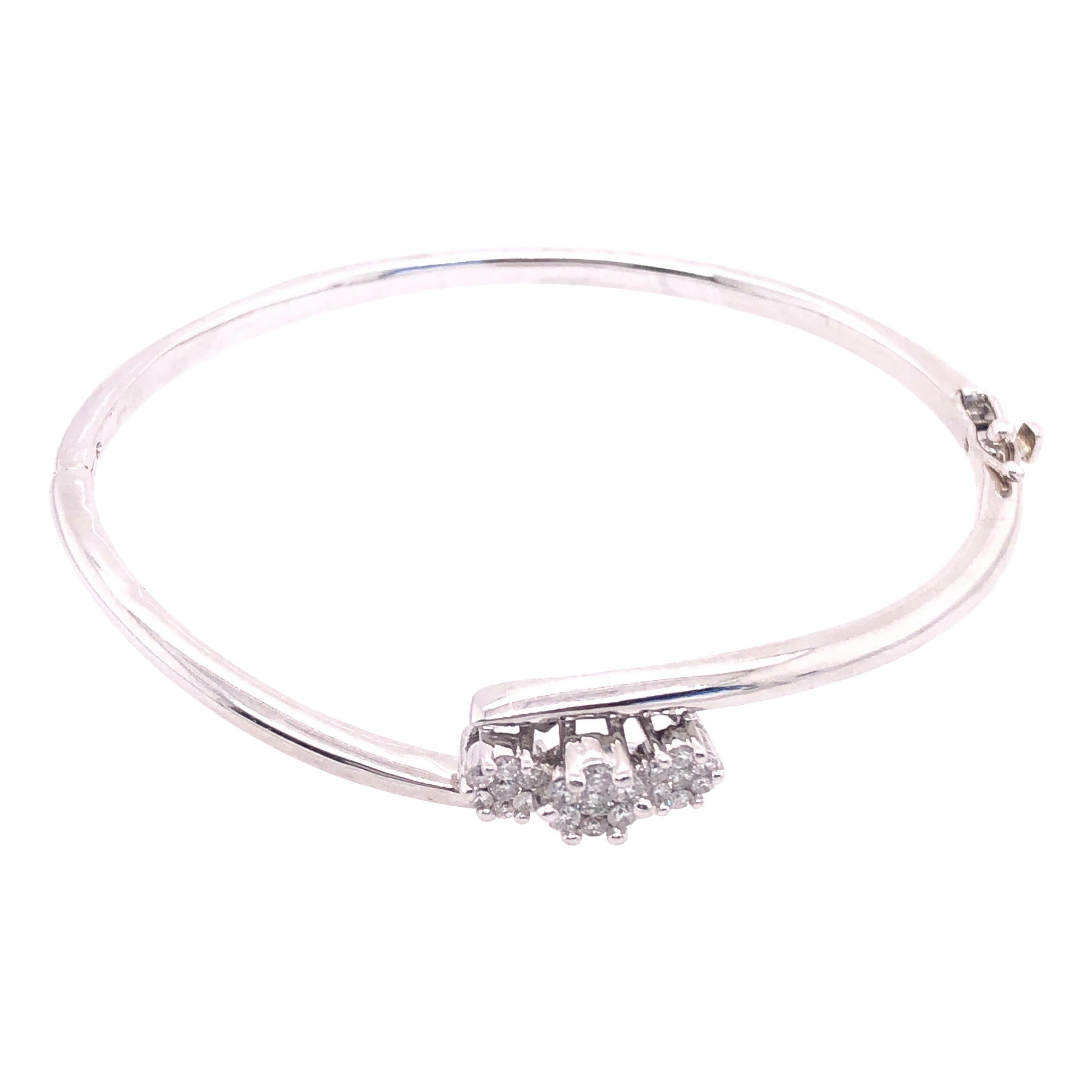 14 Karat White Gold Bangle Bracelet with Three Diamonds
