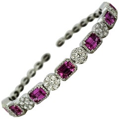 14 Karat White Gold Bangle with Natural Pink Sapphires and Diamonds