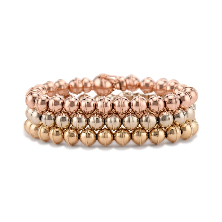 Contemporary Marlo Laz 14K White Gold Bead Squash Blossom Southwestern Stackable Bracelet For Sale
