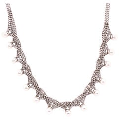 14 Karat White Gold Beaded Necklace