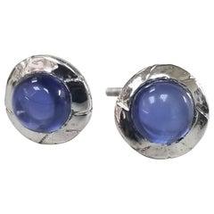 14 Karat White Gold Bezel Set Sapphire Cabochon Cut Earrings