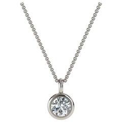 14 Karat White Gold Bezel Solitaire Diamond Pendant 'Center, 1/5 Carat'