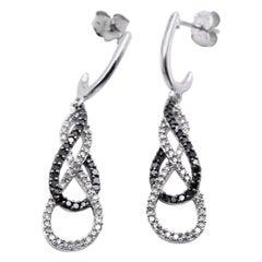 14 Karat White Gold Black and White Diamond Dangle Earrings