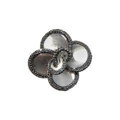 14 Karat White Gold Black Diamond Floral Cocktail Ring
