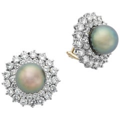 14 Karat White Gold Black South Sea Pearl and Diamond Earrings