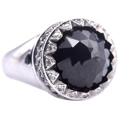 14 Karat White Gold Black Spinel with Diamonds Dome Ring