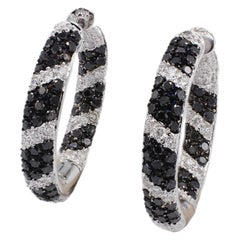 14 Karat White Gold Black & White 3.00 Carat Diamond Hoop Earrings