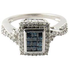 14 Karat White Gold Blue and White Diamond Ring