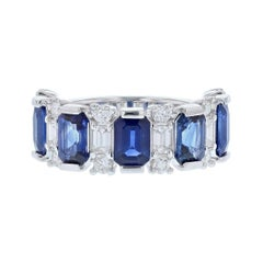 14 Karat White Gold Blue Sapphire and Diamond Band