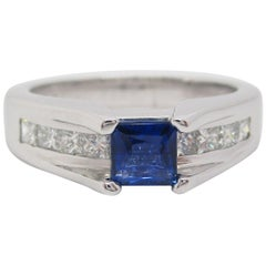 14 Karat White Gold Blue Sapphire and Diamond Engagement Ring