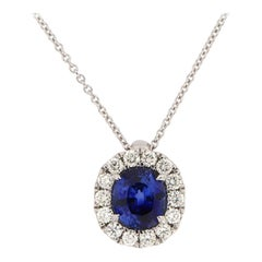 14 Karat White Gold Blue Sapphire and Diamonds Halo Pendant '2 1/2 Carat'