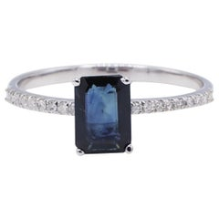 14 Karat White Gold Blue Sapphire and Pave Diamond Cocktail Ring