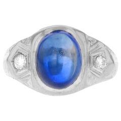 14 Karat White Gold Blue Sapphire and White Diamond Ring