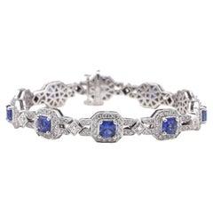 14 Karat White Gold Blue Sapphire & Diamond Halo Tennis Line Bracelet