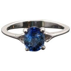 14 Karat White Gold Blue Sapphire Ring