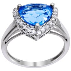 14 Karat White Gold Blue Topaz and Diamond Ladies Ring