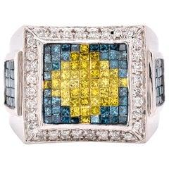 14 Karat White Gold Blue, Yellow, and White Diamond Fashion Ring