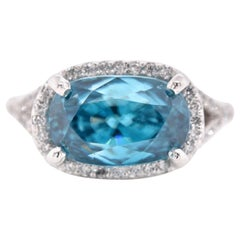 14 Karat White Gold Blue Zircon and Diamond Ring