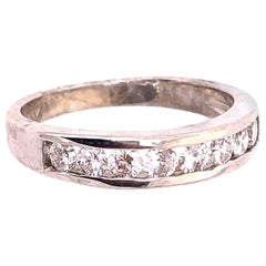 14 Karat White Gold Bridal Ring Wedding Band 0.80 Total Diamond Weight