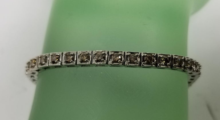 Women's or Men's 14 Karat White Gold Brown Diamond